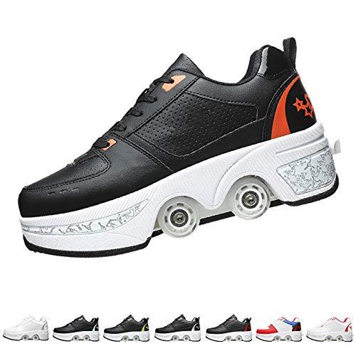 GGXINT Ruedas Ajustables Aire Libre Y Deporte Gimnasia Zapatillas Deformación 2 En 1 Patines Botas De Patines De 4 Ruedas para Niñas Y Niños,Black Orange,36