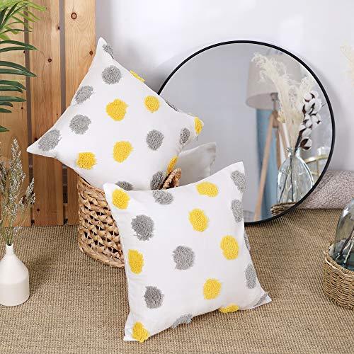Deconoco Fundas de cojin Algodón Decorativos Dibujos de Punto 2 Piezas 45x45cm Gris+Amarillo