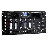 resident dj Kemistry 3BK - Table de mixage DJ, Mixeur 4 canaux, Console de mixage DJ, Bluetooth, Port USB, Port SD, Compatible MP3, 2 x entrée RCA-Phono/Line, Égaliseur 10 Bandes, Noir
