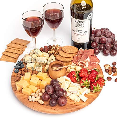 Premium Käsebrett aus Holz | 3er-Set: Servierplatte mit Honiglöffel & Topf | Charcuterie Platte & Serviertablett für Wein, Fleisch, Obst und Snacks | Umweltfreundliches Naturholz Geschenk für Gourmets