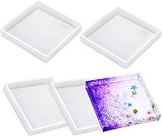 4 Pack Square Silicone Coaster Molds - Silicone Resin Mold, Clear Epoxy Molds for Casting with Resin, Concrete, Cement and Polymer Clay