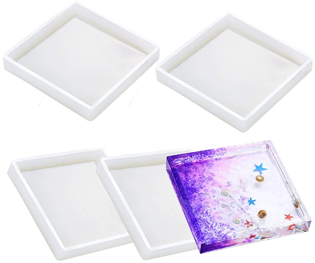 Silicone Coaster Molds - Buytra Silicone Resin Mold, Clear Epoxy Molds for Casting with Resin, Concrete, Cement and Polymer Clay (4 Pack Square Molds)