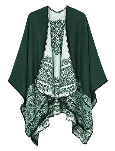 Women's Vintage Pattern Open Front Poncho Cape Shawl (Series 1-Green)