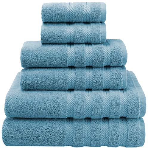 American Soft Linen 6-Piece 100% Turkish Genuine Cotton Premium & Luxury Towel Set for Bathroom & Kitchen, 2 Bath Towels, 2 Hand Towels & 2 Washcloths [Worth $72.95] - Baby Blue