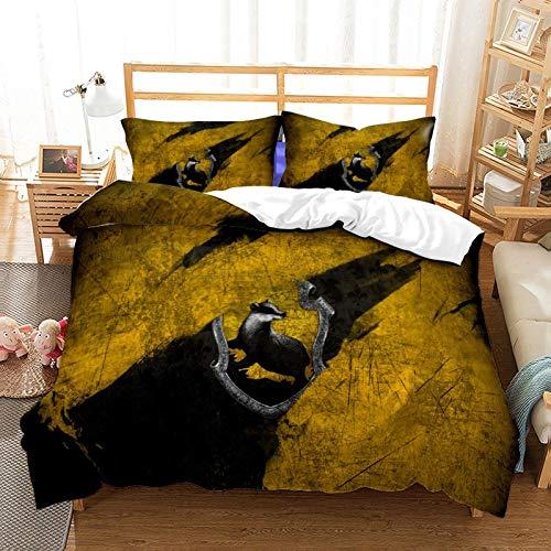 Harry Potter Magic School Bedding Set - Harry Potter Duvet Cover and Two Pillow Cases 100% Microfibre 3D Digital Print Bed Linen (A10,180 x 210 cm)