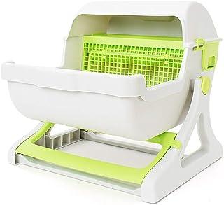 猫用トイレ本体 屋内ペットのための半自動猫フリップくずトレイボックスフード付きパントイレ 適当な容量、快適に使える (色 : 緑, サイズ : 50*46*43cm)