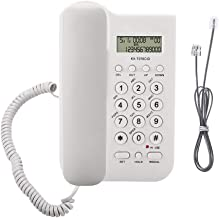 fosa Corded Phone with Caller ID Display, Home Hotel Wired Desktop Wall Phone Office Landline Telephone, FSK/DTMF Dual System(White)