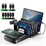 Vogek Wireless Charging Station for Multiple Devices, 5 USB Ports Charging Dock with 10W Wireless Charger and 9 Short USB Cables, AirPods iWatch Charger Stand for iPhone/iPad/Android/Tablets-Black