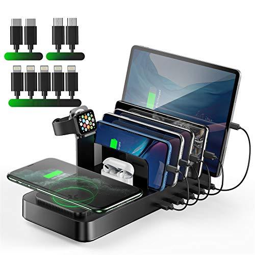 VOGEK Drahtlose Ladestation für mehrere Geräte, 5 USB-Anschlüsse 8-in-1-Ladestation mit maximal 10 W kabelloses Ladegerät für Apple iWatch/AirPods/iPhone/iPad/Samsung/Android/Tablets