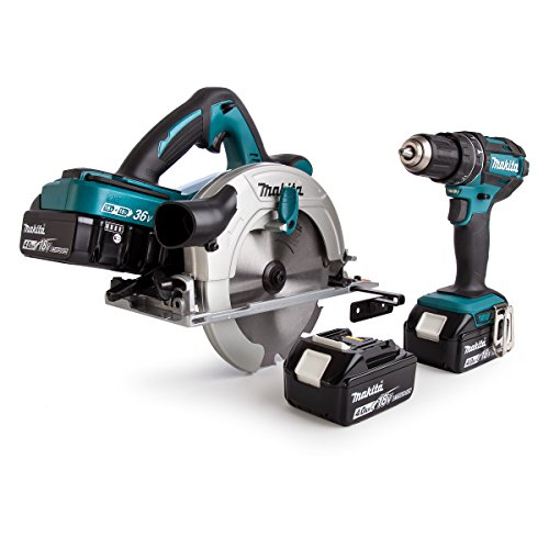 Makita DLX2140PMJ 18V Li-ion 2 Piece Combo Kit comprising DHS710ZJ and DHP482Z Complete with 4 x 4.0 Ah Li-ion Batteries and Twin Port Charger Supplied with 3 Makpac Cases