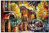ZRRTTG Mural con Estampado De Arte 60X90Cm Leonid Afremov Road En Eveningand Picture Decoración De Dormitorio Póster Lienzo...