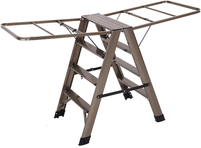TP Step stool - aluminum ladder portable tool herringbone slip pedal long home step stool non-slip handrail multi-function stairs foldable ^^ (color   PINK, Size   4 step ladder)