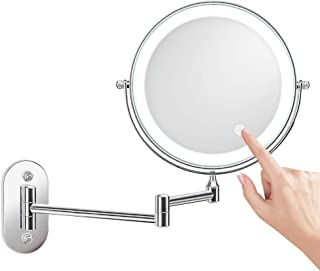 Bathroom Mirror Wall Mounted Makeup Mirror 8-inch Two-Sided 10X Magnification LED Touch Dimming 360° Swivel Extending Folding Cordless for Living Room/Beauty Salon/SPA Hotel
