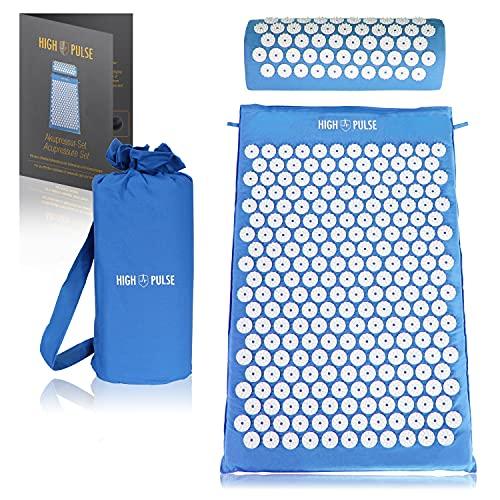 High Pulse Akupressur Set + 5 Ringe + Poster – Akupressurmatte & Kissen stimuliert die Blutzirkulation und löst Verspannungen (Blau)