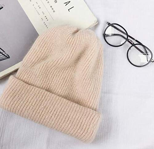 Autumn and winter long hair winter skull hat fashion warm beanie hat casual female solid color adult cap set -pink