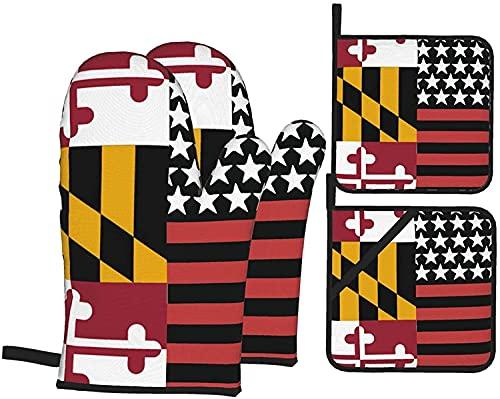 Maryland State FlagOven - Juego de guantes y soportes para ollas, resistentes al calor, guantes antideslizantes para horno de cocina para parrilla, cocinar, hornear, barbacoa, microondas