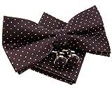 Pajarita pequeña, de lunares, preanudada, 12 cm, con pañuelo cuadrado de bolsillo y gemelos (set de regalo) marrón Dark Brown with Brown Pin Dots Talla única