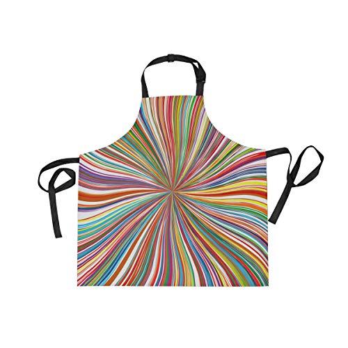 XiangHeFu Bib Aprons met 2 Zakken Abstract Dizzy Regenboog Kleurrijke 27,5 x 29 Inch Verstelbare Neck Band voor Mannen Vrouwen Koken Bakken Chef Keuken