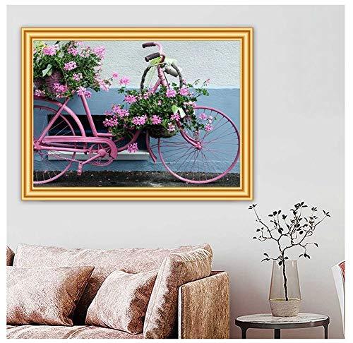 DIY Diamant Painting Bilder Voll Kits für Erwachsene Kinder Bicycle Flowers 5D Diamond Painting Full Set Kristall Strass Stickerei Kreuzstich für Home Wall Decor -Square Drill,15.7x19.6inch/40x50cm