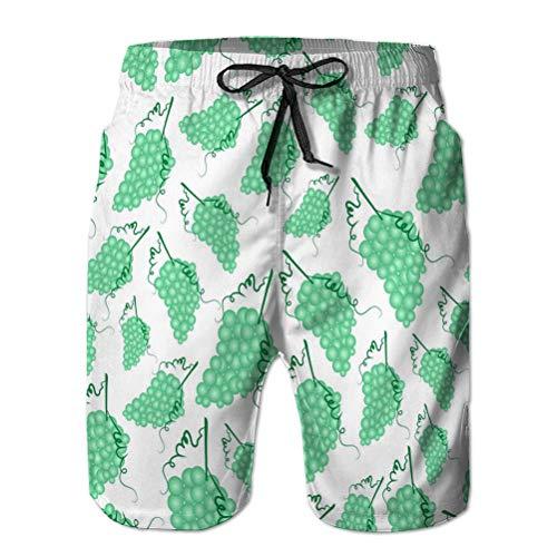 Bañador Casual para Hombre Pantalones Cortos de Playa Estampados de Secado rápido Uvas Vino Fruta Verano sin patrón eps XL