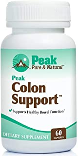 Peak Colon Support from Peak Pure & Natural® Colon Support Supplement for Men and Women   Colon Cleanser and Bowel Movement Supplement for Digestive Health   Colon Detox and Cleanse   60 Capsules