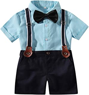 Baby Boy Summer Cotton Gentleman Long Sleeve Bowtie Romper Suspenders Shorts Outfit Set