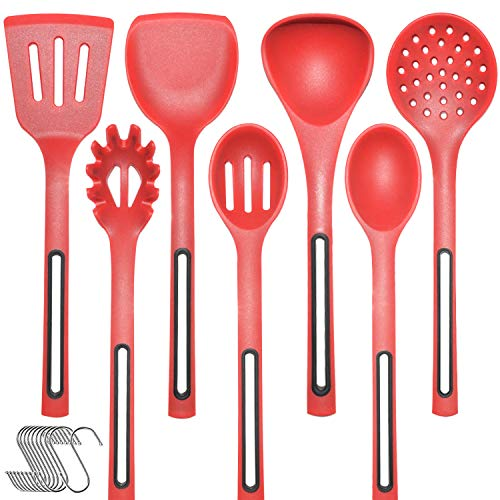 Kitchen Utensils Silicone Cooking Utensils Set - IELECMG Cooking Spoon Dishwasher Safe/Heat Resistant Silicon Spatula Set Soup Skimmer Slotted Spoons Kitchen Utensil Set for Nonstick Cookware,Red