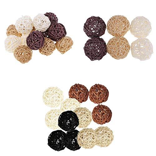 Fenteer 33Pcs 4 Gemischte Farben Wicker Balls für DIY Vase Und Schüssel Füller Ornamente, Dekorative Kugeln Balls...