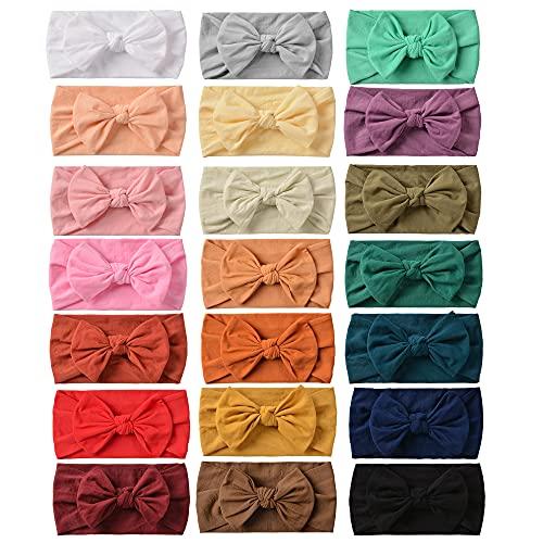 21PCS Baby Nylon Headbands Hairbands Hair Bow Elastics for Baby Girls Newborn Infant Toddlers Kids