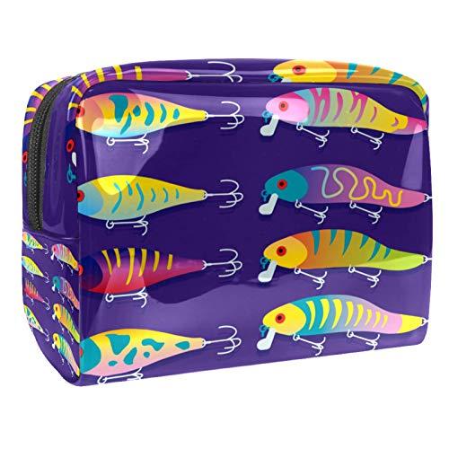 Tragbare Make-up-Tasche mit Reißverschluss, Reise-Kulturbeutel für Frauen, praktische Aufbewahrung, Kosmetiktasche, Angelköder mit dunkelviolettem Hintergrund