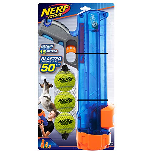 Nerf Dog Compact Tennis Ball Blaster Gift Set with 3 Balls, Great for Fetch, Hands-Free Reload, Launches up to 50 ft, Single Unit, Includes 3 Nerf Balls, 4791, Translucent Blue