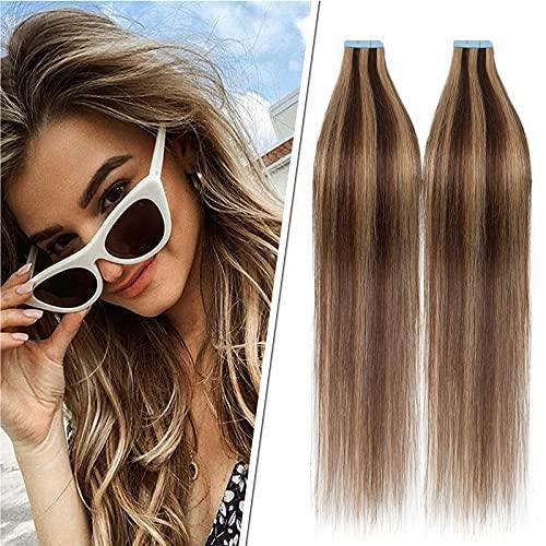 30cm Extension Adhésive Naturel Cheveux Humains Naturel- #4P27 Châtain & Blond Foncé - 40 PCS Extension Bande Adhésive