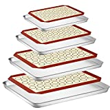 Baking Sheet with Silicone Baking Mat, Set of 8 (4 Sheets + 4 Baking Mats), Fungun Stainless Steel...
