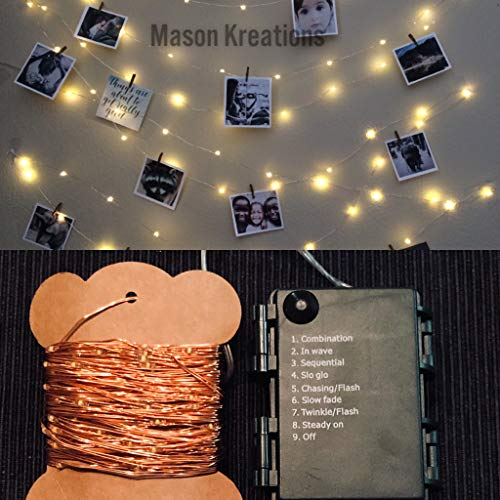 Mason Fairy Lights Rose Gold Wire - Battery Operated 100 LED warm white decorative mini bulbs for bedroom, outdoor, indoor and bedroom string decor
