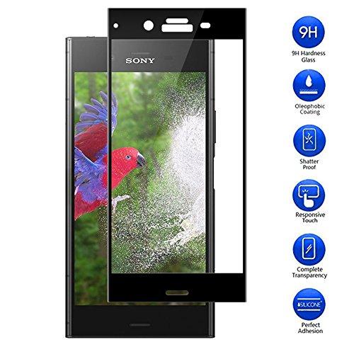 MaxKu XPERIA XZ1 SO-01K SOV36 701SO ガラスフィルム Sony Xperia XZ1 フィルム 3D強化ガラス液晶全面保護フィルム 3D曲面デザイン 日本旭硝子素材採用 高透過率 薄型 硬度9H 飛散防止処理 3Dラウンドエッジ加工 自動吸着 ソニー Xperia XZ1 液晶保護フィルム(ブラック)