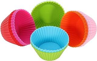 falllea 30 Piezas de Moldes para Magdalenas y Muffins Moldes de Hornear de Silicona Moldes de Pastelería - 6 Colores