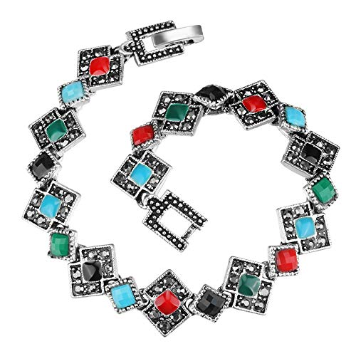 Enamel Bracelets Unique Tibetan Silver Color Resin Crystal Bangles Beautiful Gift For Girls MULTI 19cm