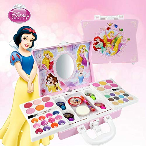 Motto.H Disney 53pcs Princesa Juego De Cosméticos para Niñas con Espejo | Lavable Y No Tóxico | Maquillaje Princesa Real con Estuche | Regalo Ideal para Niños
