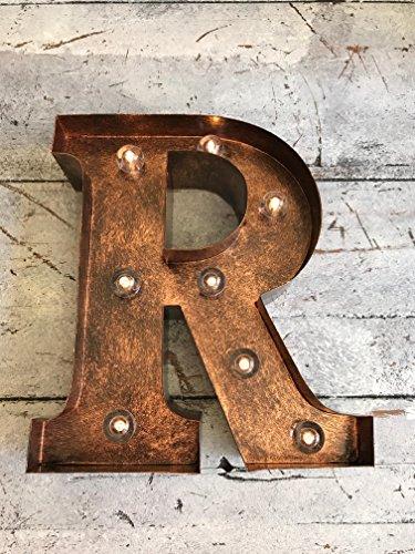 Original Way Letra con Leds R, Metal, Marrón, 17.5x5x20 cm