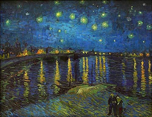 Notte stellata sul Rodano Vincent Van Gogh, puzzle in legno for adulti for bambini, 1000 pezzi for ragazzo, ragazza, giocattoli regalo Gioco decorazione for la casa Anime del fumetto di decompressione