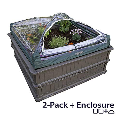Lifetime 60053 Raised Garden Bed Kit, 2 Beds and 1 Early Start Vinyl Enclosure