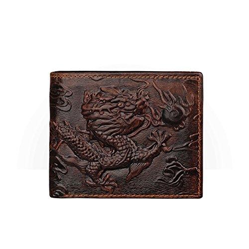 Cartera de hombre marrón con tarjetero con estampado de dragón horizontal