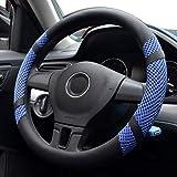 Pahajim Car Steering Wheel Cover Couvre Volant Cuir Housse de Volant de Voiture en Soie glacée Respirante antidérapante Durable Summer Universelle(Bleu)