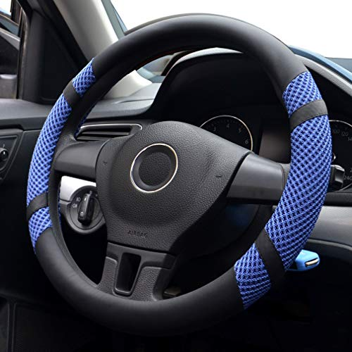 Pahajim Auto Lenkradhülle Lenkrad Abdeckung Microfiber Leder Anti Rutsch Lenkradabdeckung Breathable Fit in Summer, Universal 38(Blau)