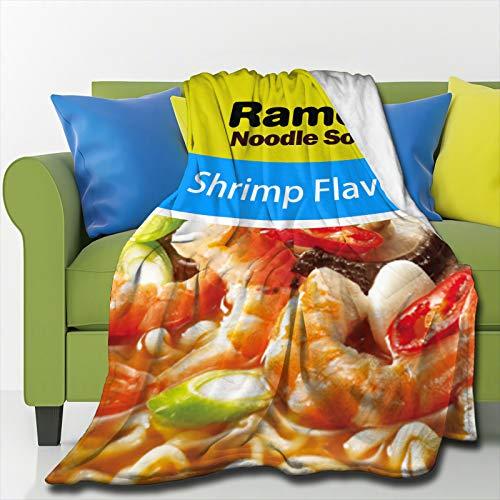 SIENNAWEBB Manta ligera para siesta Ramen con sabor a camarón, manta de lujo ultra suave para cama, sofá sala de estar, pequeño 100 x 130 cm