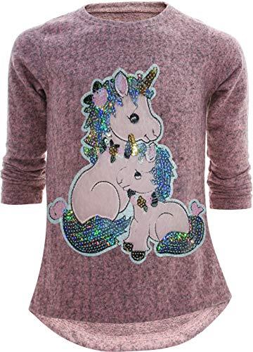 Unbekannt Pretty Girl Mädchen Kinder Sweatshirt Pullover Wendepailletten Glitzer Bluse Langshirt Pulli (122-128, Einhorn 2 Rosa)