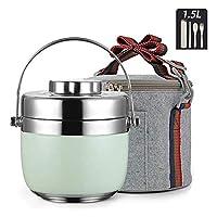 HCCHZR ステンレス鋼の食品フラスコキッズ、昼食のための断熱容器、真空断熱食品フラスコ、食品容器とスプーンのランチボックス (Color : Green)