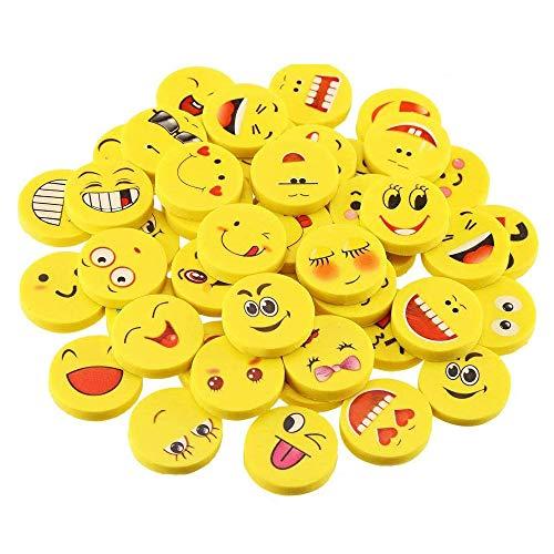 MINGZE 36 Radiergummi, Emoji Kinder Karikatur Designs Smiley Radierer Schüler Schulbedarf Kreatives Briefpapier Kinder Geburtstag Mitgebsel Gastgeschenk Geschenke für Festival Neues Jahr Weihnachten