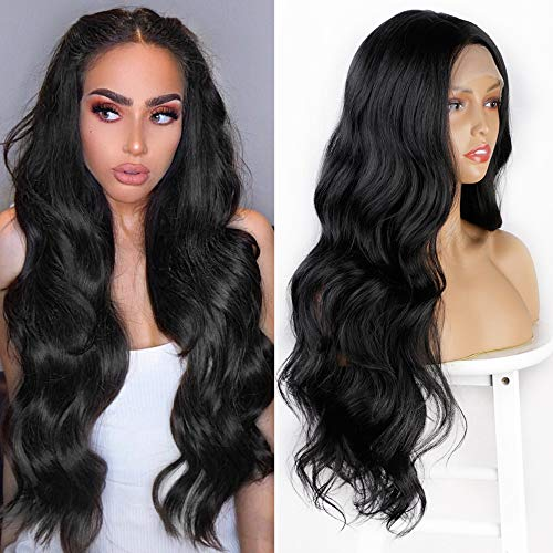 AISI HAIR Long Wavy Wig for Black Women Part Lace Wig 30 Inch Natural Looking Body Wave Wigs Long Curly Heat Resistant Synthetic Wigs (13x4 inch Lace Part, Natural Black)