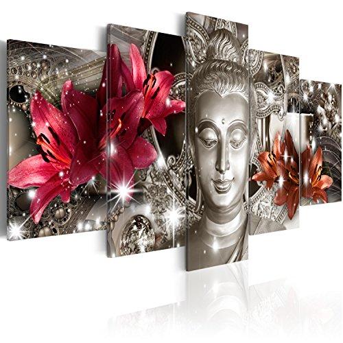 murando - Cuadro en Lienzo Buda Zen SPA 200x100 cm Impresión de 5 Piezas Material Tejido no Tejido Impresión Artística Imagen Gráfica Decoracion de Pared Flores Naturaleza h-C-0029-b-n